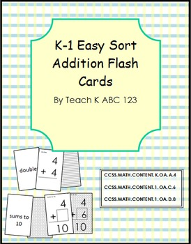 Addition Flashcards Easy Sort
