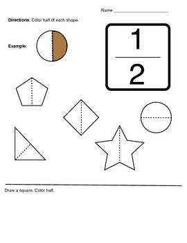 K-1 Fractions 1/2 Half Activity Worksheet by Klynoot ...
