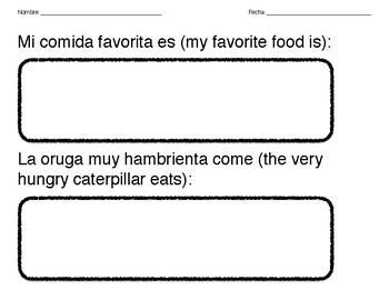 K-1 La oruga muy hambrienta Food Pattern Worksheet (Spanish)