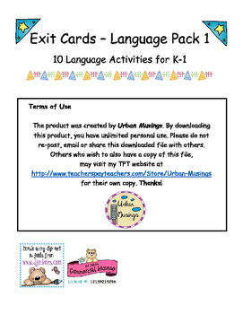 K-1 Language Exit Cards
