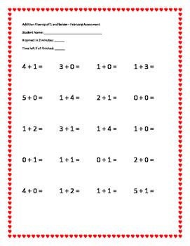 K-1 Math Fluency Assessment of +1