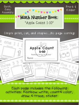 K-1 Math Number Activity Book Bundle, Math Skills for Guided Math Practice