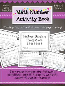 K-1 Math Number Book- Easy Assembly- A fun counting book for young learners