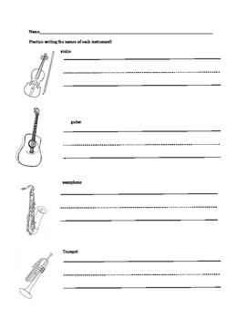 K-1 Music Homework Packet