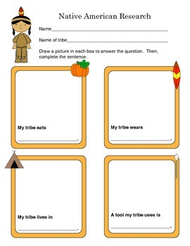 K-1 Native American Tribe Research Graphic Organizer