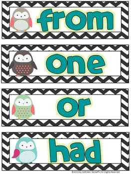 K-1 Owl and Chevron Themed Word Wall