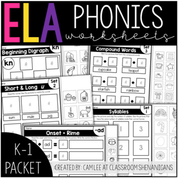 K-1 Phonics Printables Packet: Interactive Cut & Paste
