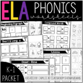 K-1 Phonics Printables Packet: Interactive Cut & Paste