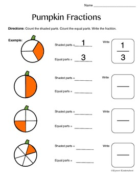 K-1 Pumpkin Fractions Worksheet