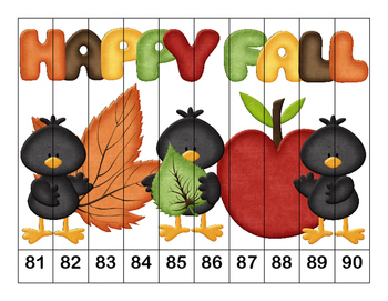 K-1 Counting Puzzles-Fall and Back to School-  1's, 2's, 5's, and 10's