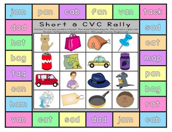 K-1 Reading Games: 16 Print-and-Go Boards (w/ CVC, CVCe, & Vowel Team Words)