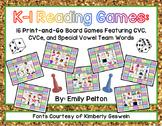 K-1 Reading Games: 16 Print-and-Go Boards (w/ CVC, CVCe, &