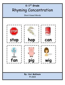 K-1 Short Vowel Rhyming Memory Reading Concentration Center Game Cards