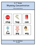 K-1 Short Vowel Rhyming Memory Reading Concentration Cente