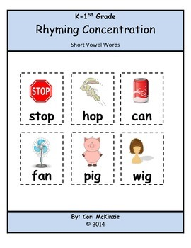 K-1 Short Vowel Rhyming Memory Reading Concentration Cente