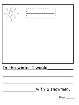 K-1 Snowmen All Year Differentiated Writing ( includes SMARTboard activity)