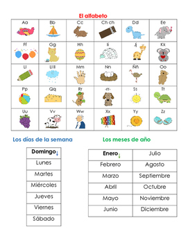 K-1 Spanish Reference Guide