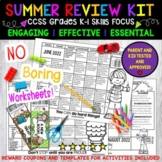 Summer Review, K-1,  NO PREP- 3 Calendars, 65 Activities, Parent Letters