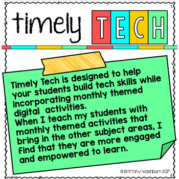 K-1 Timely Tech September Themed Technology Activities