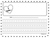 K-1 Valentine's Day Heart Writing Essay Paper - Black/White Variety Pack