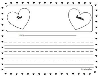K-1 Valentine's Day Heart Writing Essay Paper - Black/White Variety Pack