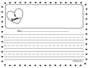 K-1 Valentine's Day Heart Writing Essay Paper - Black/Whit
