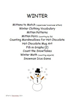K-1 Winter - activities, worksheets, and game