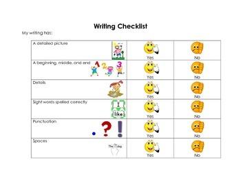 K-1 Writing Checklist