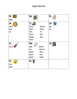 K-1 sight word reference for students
