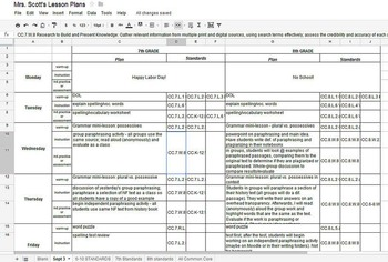 K-12 ELA Common Core Weekly Lesson Plan Template in Excel