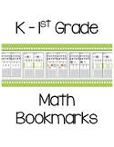 K & 1st Grade Math Bookmarks