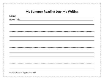 K-1st Grade Summer Reading Log
