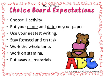 K-1st Spelling Choice Board (February)