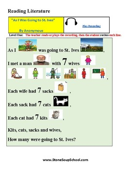 K - 2  ADD/ADHA - Poetry - As I Was Going to St Ives