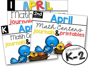 K-2 April Math Centers, Journals, and Printables Bundle