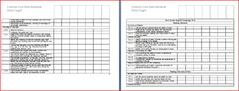 K-2 CCSS Class Checklist/Mastery & Dates Taught BUNDLE