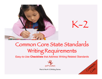 K-2 Common Core Writing Checklists - Writing & Language, multiple forms