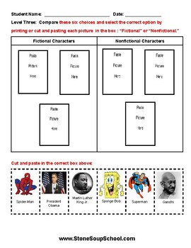 K - 2 Compare and Contrast Characters (F vs NF) - Visual Impairments