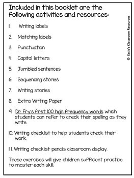 K-2 Creative Writing Booklet
