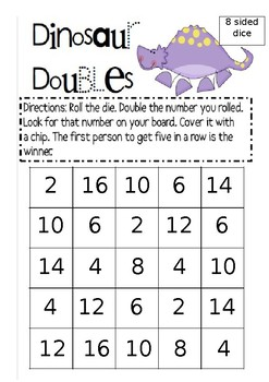 K-2 Differentiated Doubles Board Dice Game - 4 levels