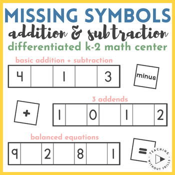 K-2 Differentiated Missing Math Symbols in Equations Center Activity