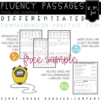 K-2 Differentiated Reading Fluency Passages with Comprehension and Questions