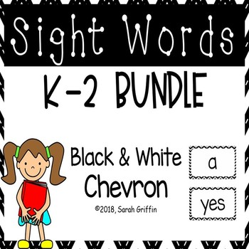 K-2 Dolch Sight Word Bundle - Black Chevron