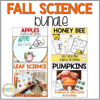 Fall Science Leaf Life Cycle, Apple, Pumpkin and Bee Science Activities Bundle