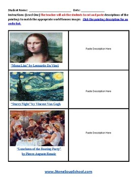 Famous Art Paintings for Students w/ Speech or Language Disorders