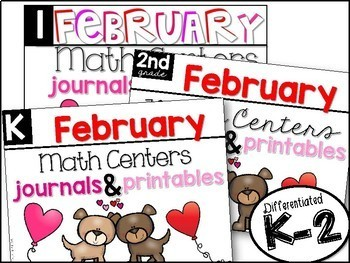 K-2 February Math Centers, Journals, and Printables Bundle