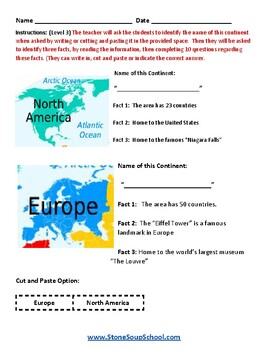 K - 2 Geography- Learning Continents - w/ Visual Impairments