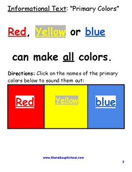 """K - 2 Guided Reading - Level A  """"Creating Colors"""" For Traditional Students"""