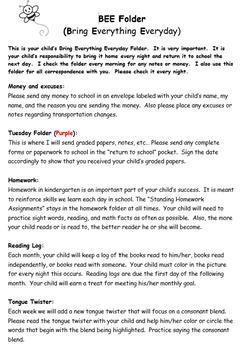 K - 2 Homework Folder Guides, Editable