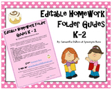 K - 2 Homework Folder Guides, Editable